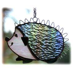 Hedgehog Suncatcher Stained Glass Handmade animal garden £11.00