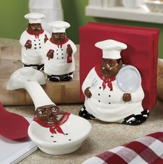 African American Black Happy Bistro Chef Hand Painted Ceramic Table Top Set 89025