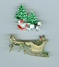 2 Christmas Sleigh Brooches Pins One Signed Gerrys Costume Jewelry #Bonanza #cshort0319