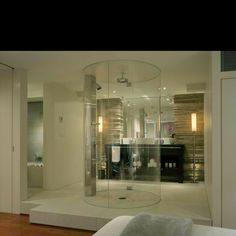 This is a shower in the middle of the room.