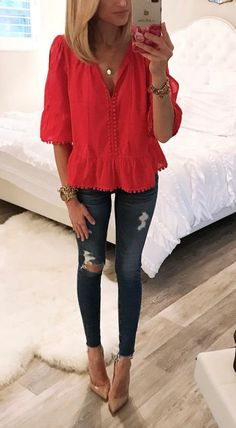 Read Female Red top outfits from the story Outfits by dontstopreadingxox (Demons Queen) with 815 reads. Fall Outfits, Summer Outfits, Casual Outfits, Cute Outfits, Fashion Outfits, Womens Fashion, Dressy Jeans Outfit, Spring Outfits Women, Fashion Fashion