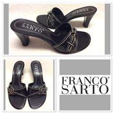 "Black buckle Franco Sarto heels size 6M Super classic Franco Sarto slip on heels with white stitching and silver and black buckle detailing. Upper leather, manmade sole. Snap these up today! 3"" heel Franco Sarto Shoes Heels"