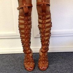 Tan+Faux+Leather+Knee+High+Heels+$49.99