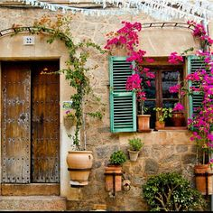 House in Spain - Terra cotta hanging pots + Bougainvillea trellis + Wooden Doors + Turquoise Shutters