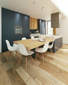 Kitchen Design / by Kseniia D / Image Via Behance Kitchen Room Design, Home Decor Kitchen, Kitchen Interior, New Kitchen, Kitchen Ideas, Interior Design Layout, Home Design, Custom Kitchens, Luxury Kitchens