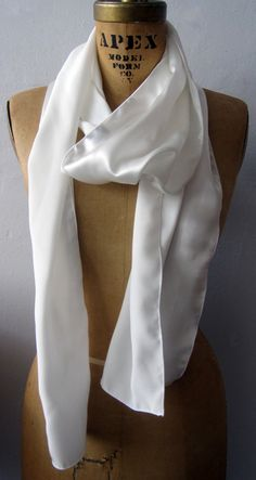 Aviator Scarf White Silk Scarf Silk Charmeuse Scarf by LeBeauCou - $47