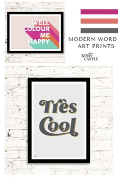 Cool, stylish, modern typographic word art prints. Work brilliantly as part of a gallery wall or as a feature art print on their own. Contemporary, modern colours including grey and mustard, or pastel pink or even bright pink and orange art prints! They look great in any room. Perfect for living room home decor, hallway home decor or even the kitchen or bedroom. More colours available online. Hallway Wall Decor, Bedroom Wall, Pastel Pink, Bright Pink, Monochrome Interior, Contemporary Art Prints, Orange Art, Typographic Poster, Happy Art