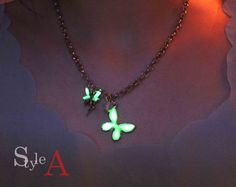 miracle forest  of fairy tale Gowing necklace by GlowFie on Etsy, $27.00