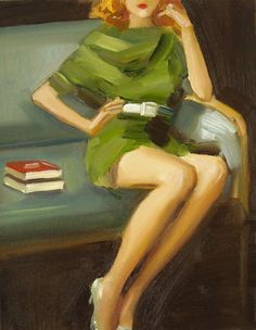 6c3271451f Paige In A Green Dress - Open Edition Print by Janet Hill Studios (Oil  Painting) I just adore the retro look of Janet Hill s work. Perfect for a  office