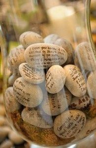 """guest book alternative: We did this at our wedding. We collected the stones from the local beach in Maine. The not nexted to it read something like """"marriage starts with a strong foundation. Please add a stone of advice to help them build on"""" Loved it! We got creative poems, advice and sayings. Stones are from home depot and a regular sharpie was used."""