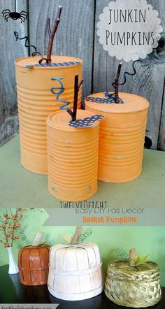amazing pumpkin decorations to create this fall! Easy and fun DIY re-purposed pumpkins perfect for Thanksgiving and Halloween decorations! Fall Paper Crafts, Fall Arts And Crafts, Easy Fall Crafts, Fall Diy, Diy Home Crafts, Pumpkin Decorations, Easter Bunny Decorations, Thanksgiving Decorations, Halloween Decorations