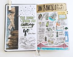 Ideas and techniques for keeping an art journal, sketchbook, or a scrapbook. Album Journal, Travel Journal Pages, Scrapbook Journal, My Journal, Travel Scrapbook, Journal Ideas, Travel Journals, Memory Journal, Travel Books