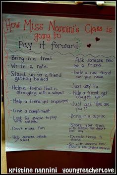 """Ideas to Help Pay it Forward Anchor Chart - Create a caring classroom with the help of this great """"Pay It Forward"""" anchor chart. This works great at ANY grade level! Write out the goals for upper elementary or draw pictures for younger elementary students. Either way, you an start to make the world a better place! #YoungTeacherLove #PayItForward #AnchorChart Middle School Classroom, 2nd Grade Classroom, Classroom Behavior, Classroom Environment, Behavior Management, Classroom Management, Class Management, Valor Real, Classroom Inspiration"""