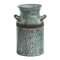 Woodland Imports Decorative Antique Galvanized Milk Can & Reviews | Wayfair