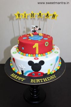 Mickey Mouse clubhouse theme customized 2 layer designer fondant cake by Sweet Mantra - Customized 3D cakes Designer Wedding/Engagement cakes in Pune - http://cakesdecor.com/cakes/273559-mickey-mouse-clubhouse-theme-customized-2-layer-designer-fondant-cake