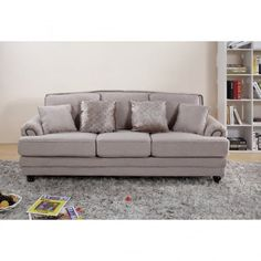 Chic My Room contemporary Nicole upholstered sofa 3 seater suite settee beige cream neutral comfortable living room seating.