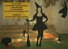 05-WC-0705 - Damsella Witch and other Spooky Stuff Halloween Woodworking Drawings - All you need is one sheet of plywood. #diy #woodcraftpatterns