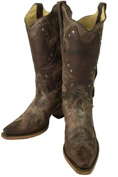 Corral Brown Concho Cowboy Boots with Studs front