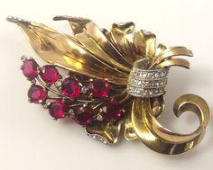 Trifari  sterling vermeil, ruby red,  fur clip