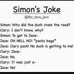 Find images and videos about tmi, jace and duck on We Heart It - the app to get lost in what you love. Clary And Simon, Clary And Jace, Immortal Instruments, Shadowhunters The Mortal Instruments, Netflix, Book Memes, Book Qoutes, Shadowhunters Tv Show, Cassandra Clare Books