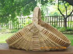Ribbed Hearth Basket with Fancy Handle by BasketsbyElaine on Etsy, $45.00