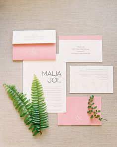 Modern pink invitation suite: http://www.stylemepretty.com/little-black-book-blog/2016/06/24/beautiful-blooms-cute-kids-pinterest-wedding/ | Photography: Sposto Photography - http://spostophotography.com/