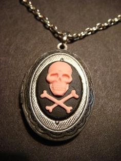 Pink and Black Skull LOCKET Necklace in Antique by CreepyCreationz