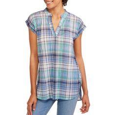 No Boundaries Juniors' Sleeveless Pop-Over Tunic Top, Size: Small, Green