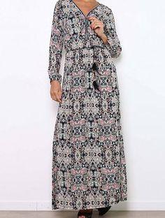 Pastel Print Maxi Dress