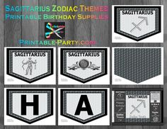 Printable sagittarius party supplies that are perfect for a birthday celebration. This sagittarius zodiac party theme has everything you need to create an awesome looking event. Zodiac Capricorn, Aquarius, Birthday Supplies, Party Supplies, Sagittarius Birthday, Zodiac Symbols, Party Printables, Birthday Decorations, Party Themes