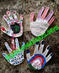 Mother's Day gift idea. Painted salt dough hand-print. So fun!