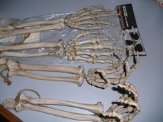 skeleton hands~use the heat gun to curl up the hands in a more 'natural' pose.