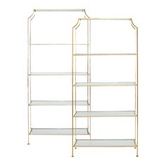 """CHLOE S - Silver Leafed etagere with clear glass shelves.  -Top shelf 21.5""""h, remaining shelves 17.5""""h"""