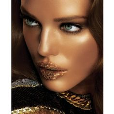 New Year's Eve Makeup 2013-2014 Dipped in Gold ❤ liked on Polyvore featuring models, backgrounds and faces