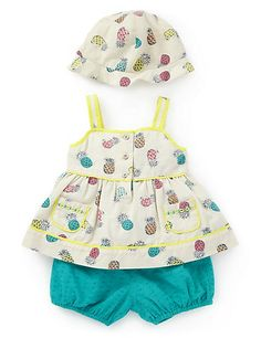3 Piece Pure Cotton Top, Bloomer Shorts & Hat Outfit Clothing £18