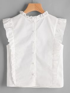 Material: 100% Cotton Color: White Pattern Type: Plain, Embroidered Collar: Round Neck Style: Casual, Cute Type: Tunic Decoration: Ruffle, Button Sleeve Length: Cap Sleeve Fabric: Fabric has no stretch Season: Summer Shoulder(Cm): XS:32cm, S:33cm, M:34cm, L:35cm Bust(Cm): XS:85cm, S:89cm, M:93cm, L:97cm Length(Cm): XS:52cm, S:53cm, M:54cm, L:55cm Size Available: XS,S,M,L