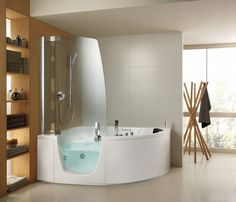 Corner jacuzzi tub with shower. Maximize space/efficiency/comfort. :)