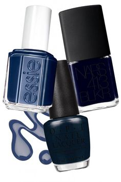 A favorite fall nail color - shades of midnight blue