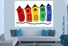 house Abstract painting Large Abstract Acrylic by JerryTitanArt