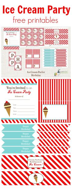Ice Cream Party Free Printables www.weheartparties.com
