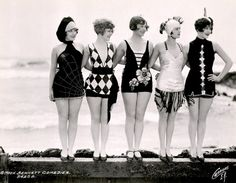 "Mack Sennett bathing beauties as ""sirens of the sea."" c. 1920's    Left to right, featured are Connie Dawn, Betty Byrd, Thelma Parr, Nancy Hellman, Marion MacDonald"