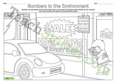 Teaching Resource: A busy street themed number hunt worksheet for students to identify a range of numbers in the environment.