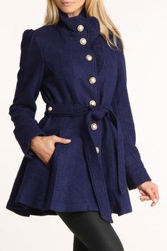 Bebe Boucle Ruffle Placket Wool Coat In Navy