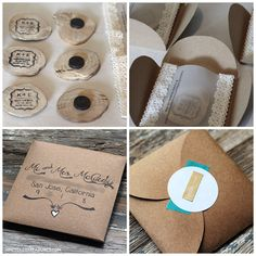 DIY Rustic Chic Save the Date - This is how I put together our wood round, wedding save the dates magnets using kraft paper, lace, our printer and