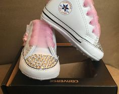 Bedazzled - Crib Shoes - Handcrafted - Custom Design - Baby - Pearl - Jewel  - Rhinestones - Converse a8da1b50c