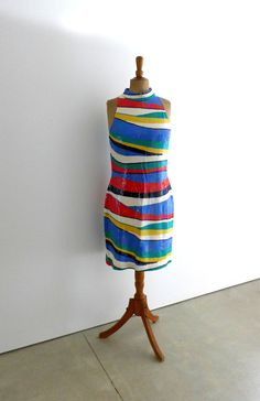 Vintage colourful US designer stripe sequin sleeveless by evaelena