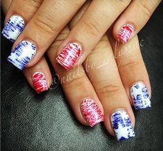 Gel Polish Designs, Fingernail Designs, Blue Nail Designs, Acrylic Nail Designs, Acrylic Nails, July 4th Nails Designs, 4th Of July Nails, Usa Nails, Tie Dye Nails