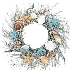 Coastal Christmas Wreaths for Beach House Front Door. If you have a beach house or want to bring a little coastal style to your home then a coastal wreath will be a beautiful addition to your holiday decor. Coastal Wreath, Coastal Christmas Decor, Seashell Wreath, Twig Wreath, Seashell Crafts, Beach Crafts, Coastal Decor, Christmas Wreaths, Floral Wreath