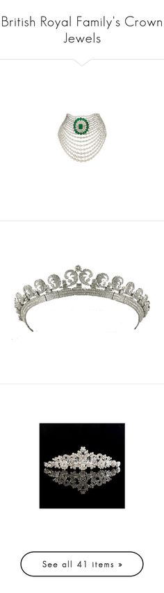 """British Royal Family's Crown Jewels"" by chelseaofwales ❤ liked on Polyvore featuring accessories, tiara, jewelry, crowns, coroas, hair accessories, hair, white, bridal headbands and butterfly hair comb"