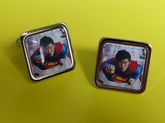 What a hero... Superman Cufflinks by mixedupdolly on Etsy (Accessories, Cuff Links, Men, designer, chrome, mixed up dolly, design, retro, vintage, 70's, 80's, Super hero, film, hero, rescue, damsel in distress)